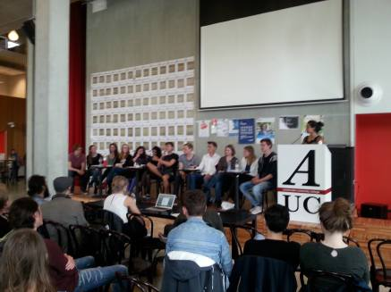 From left to right: Daniel Bieckmann (DL), Danielle Wagenaar (DL), Ankie van Dijk (DL), Claudia Rot (DL), Isi Frey (PP), Tanushree Khausal (PP), Marten Dondorp (PP), Maarten Albers (SYN), Stijn Wilbers (SYN), Lia Den Daas (APP), Mirjam Quaak (APP), Ties Ammerlaan (APP), and current SC chair Aqsa Hussain.